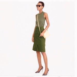 J. Crew high waisted military green A-Line Skirt
